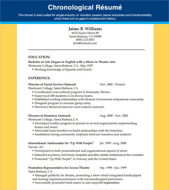 chronological resume template .