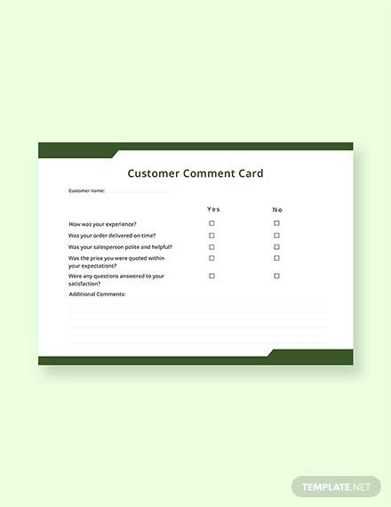 free customer comment card template