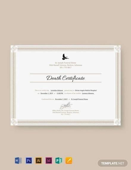 free death certificate template1