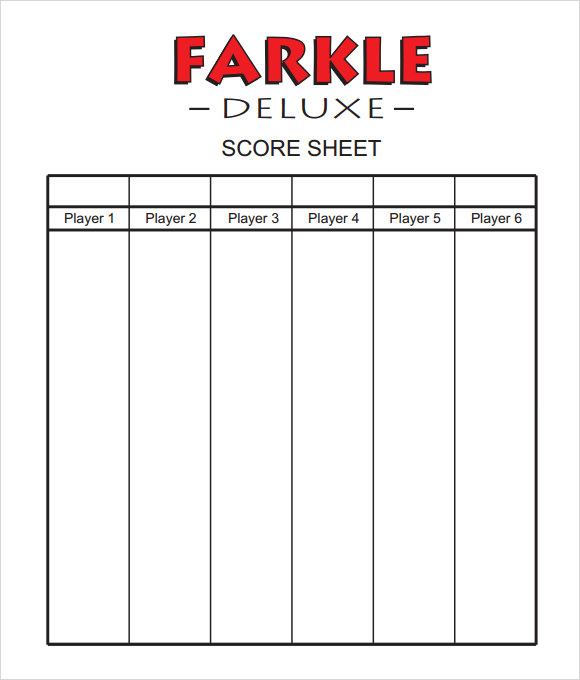 Sample Farkle Score Sheet   Documents In Pdf Word