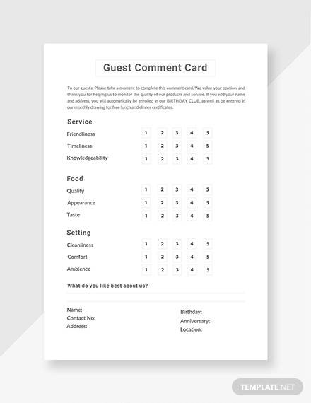 free guest comment card template