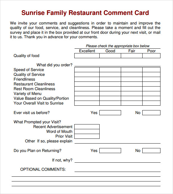 Restaurant Survey Cards Narco Penantly Co