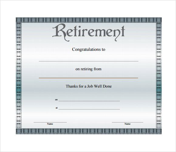 free retirement certificate template