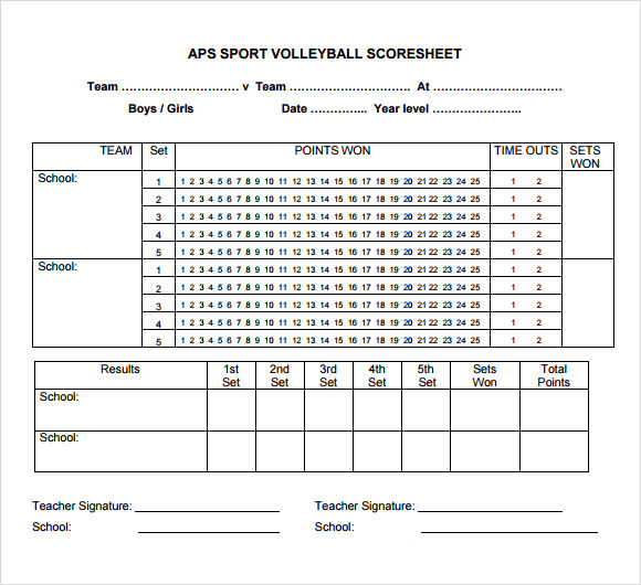 free volleyball score sheets