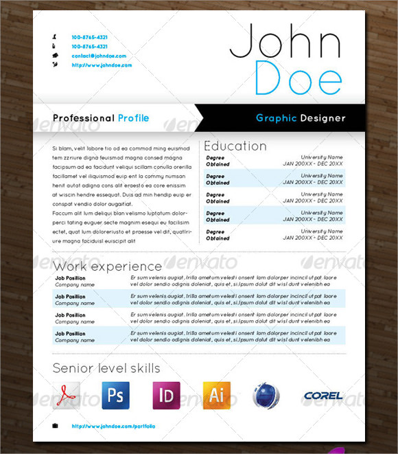 Sample Designer Resume   Documents In Pdf Word  Psd  Vector