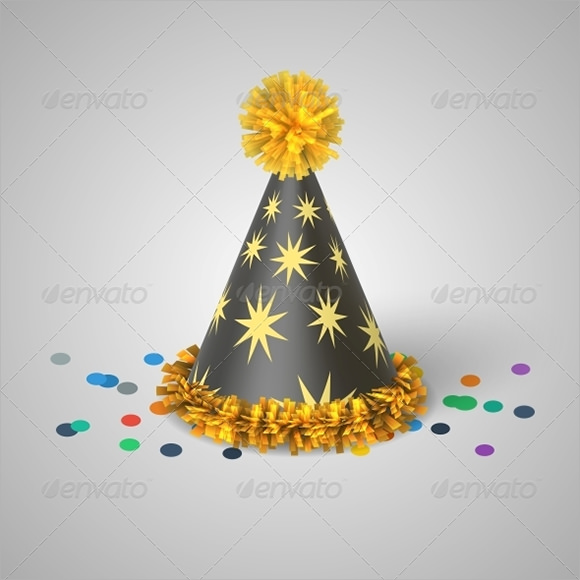 grey party hat with yellow stars