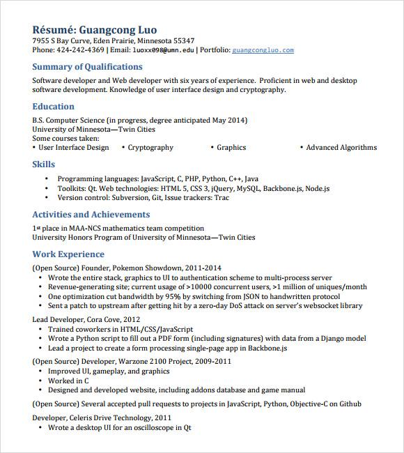 developer resume template