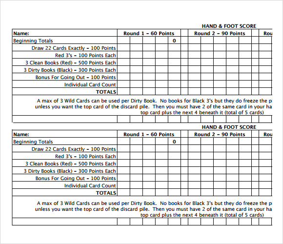 Sample Hand and Foot Score Sheet 5 Documents in PDF Word – Canasta Score Sheet