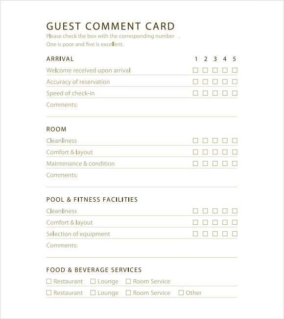 Hotel Comment Card Examples