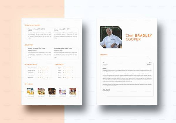 indesign chef resume template to print