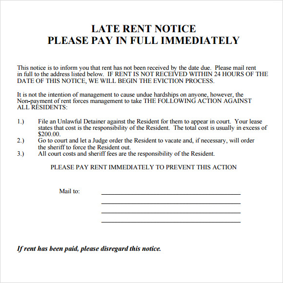 Late Rent Notice Template - 8+ Download Free Documents In Pdf
