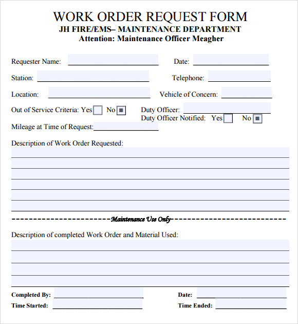 Work order template 16 download free documents in pdf for Repair ticket template