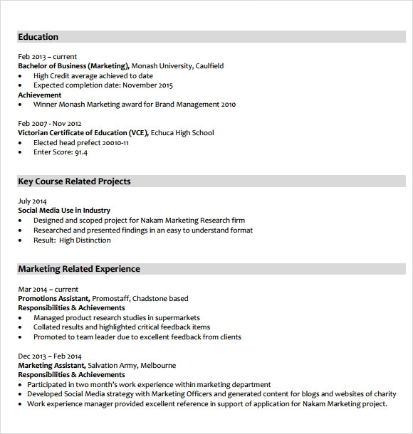marketing resume template pdf