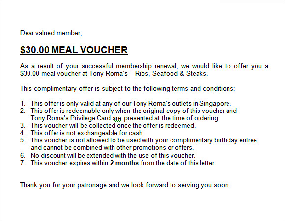 meal voucher template word