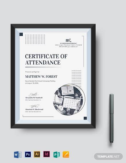 meeting attendance certificate template