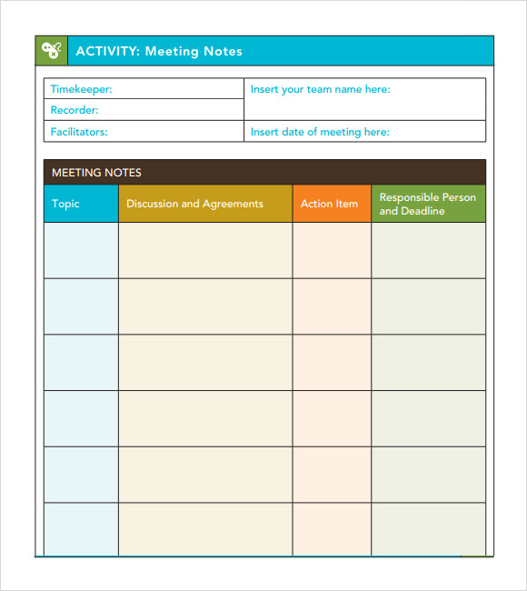 Meeting Notes Template With Action Items  Meeting Minutes Templates Free