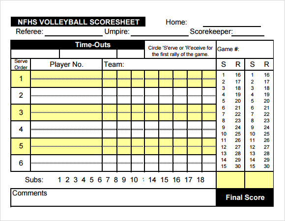 Perfect NFHS Volleyball Score Sheet Template