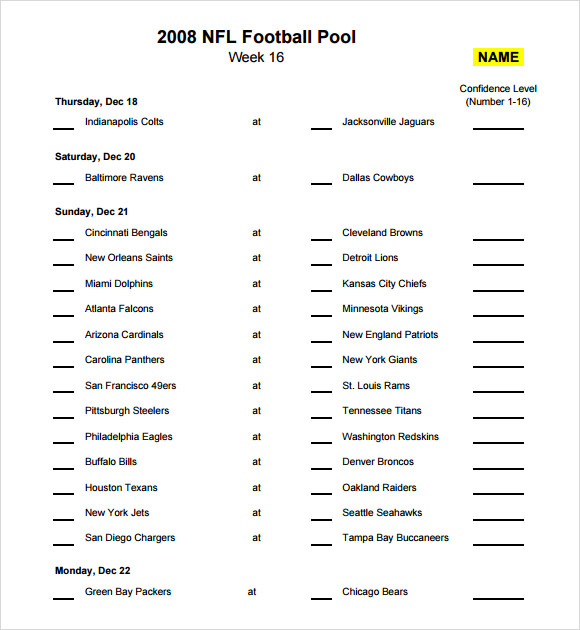 NFL Football Pool Template
