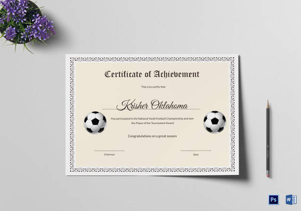 17 sample football certificate templates to download