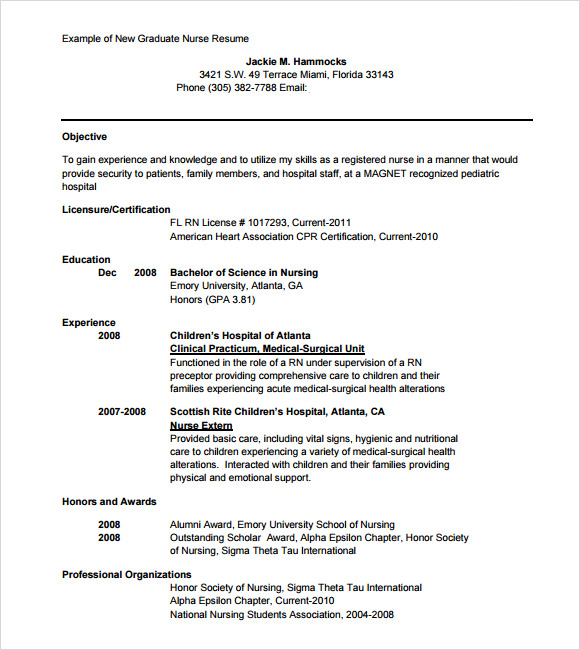 new grad nursing resume template - Resume Sample For Nurse