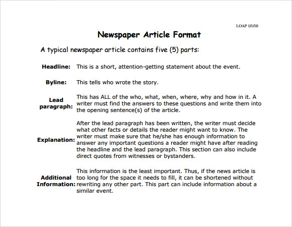 newspaper article template word .