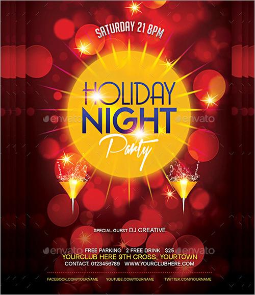 night holiday party invitation