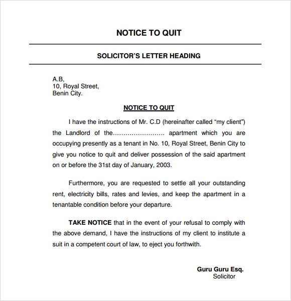 Attractive Notice To Quit Letter Template Intended Notice To Quit Letter