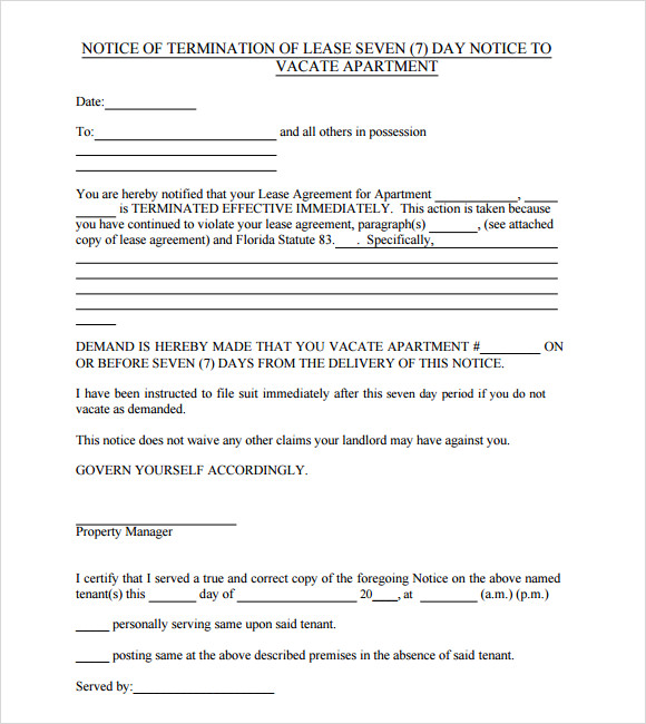 Notice To Vacate Template 9 Download Free Documents In Pdf