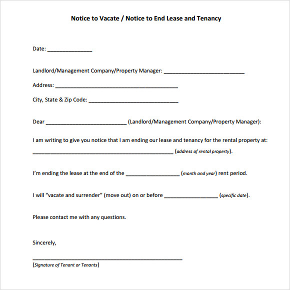 Vacate property notice template notice to vacate template 9 download free documents in pdf sample thecheapjerseys Image collections