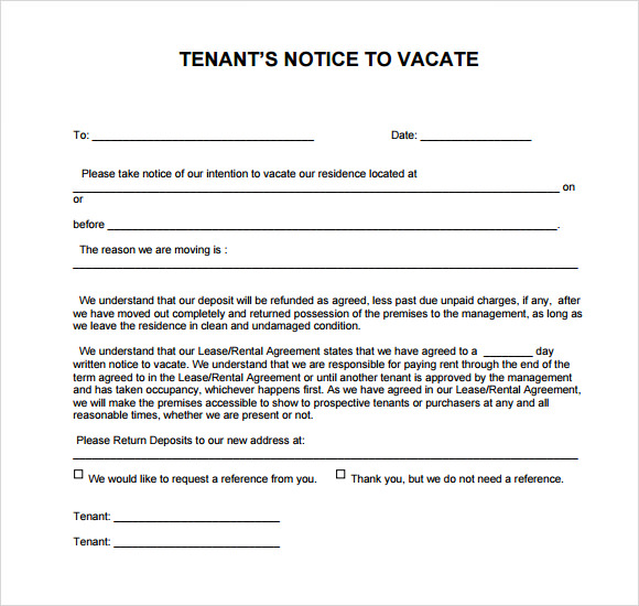 intent to vacate letter 8 notice to vacate samples sample templates 15046