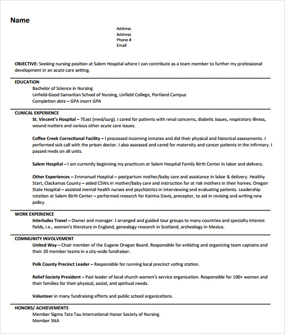 nursing resume objective template