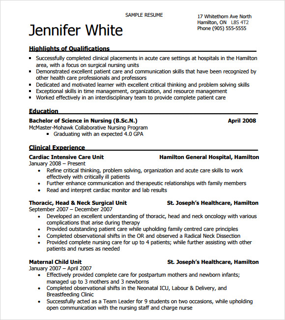 sample nursing resume 8 download free documents in pdf word psd - Free Nurse Resume Template