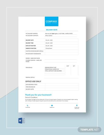 official use delivery note template