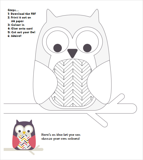 image about Owl Printable Template titled Absolutely free 13+ Extraordinary Pattern Owl Templates within PDF PSD Vector