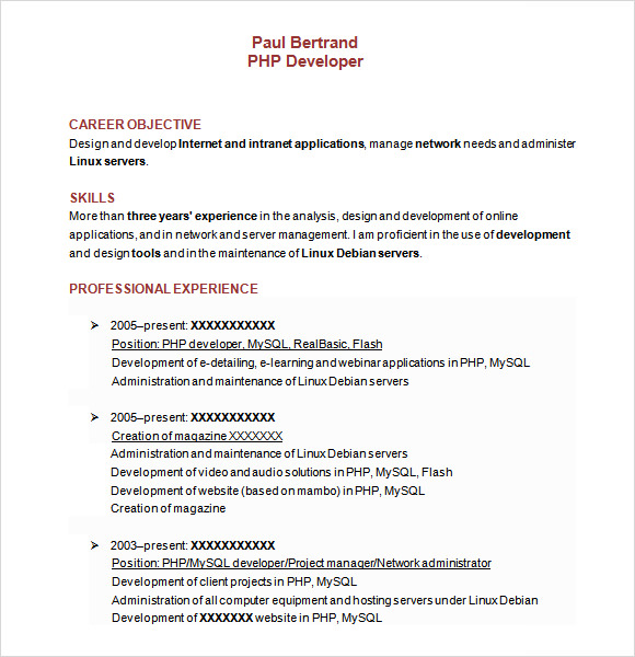PHP Developer Resume Template Word