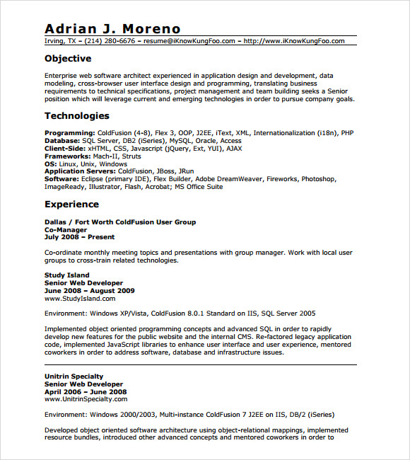 10 sample php developer resume templates to download for Sample resume for sap abap 1 year of experience