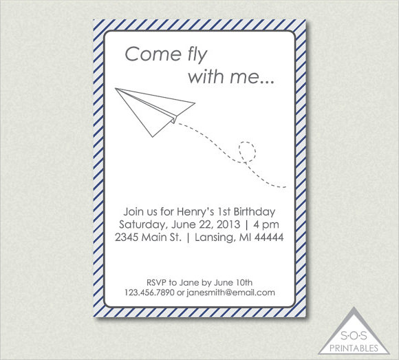 paper airplane invitation template