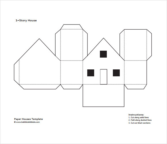 Paper House Template PDF