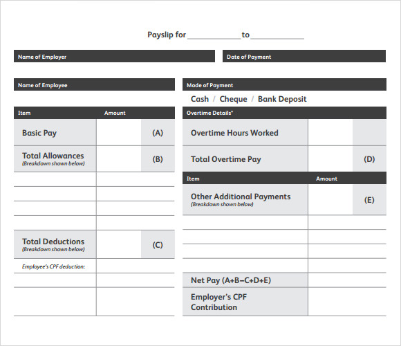 salary slip template word format .