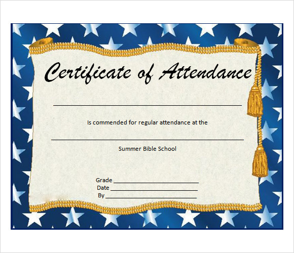 Perfect Attendance Certificate Template  Free Perfect Attendance Certificate Template