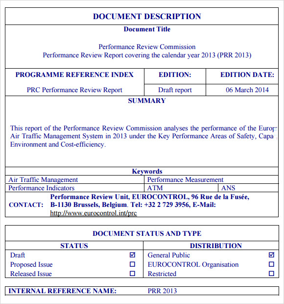 performance report template .