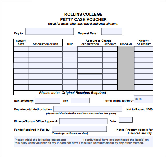 Petty Cash Receipt Sample  Free Online Form Templates