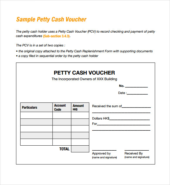 Sample Petty Cash Voucher Template 9 Free Documents in PDF – Example of a Voucher