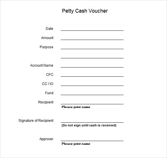 Sample Petty Cash Voucher Template 9 Free Documents in PDF – Cash Voucher Template