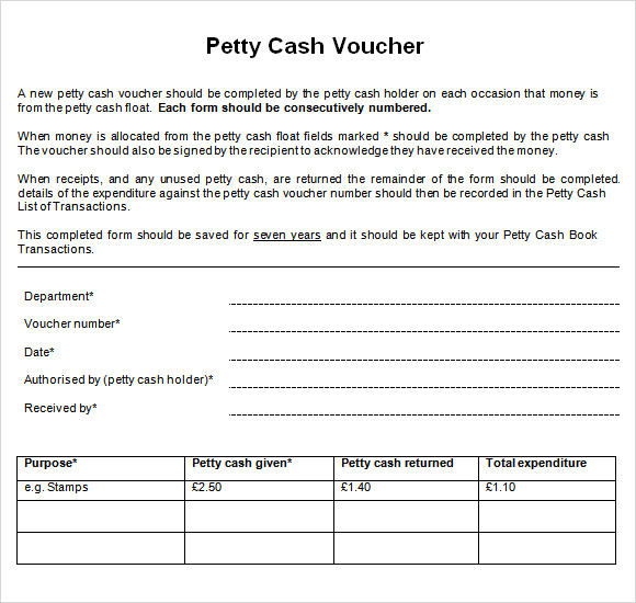 Sample Petty Cash Voucher Template 9 Free Documents in PDF – Voucher Templates Word