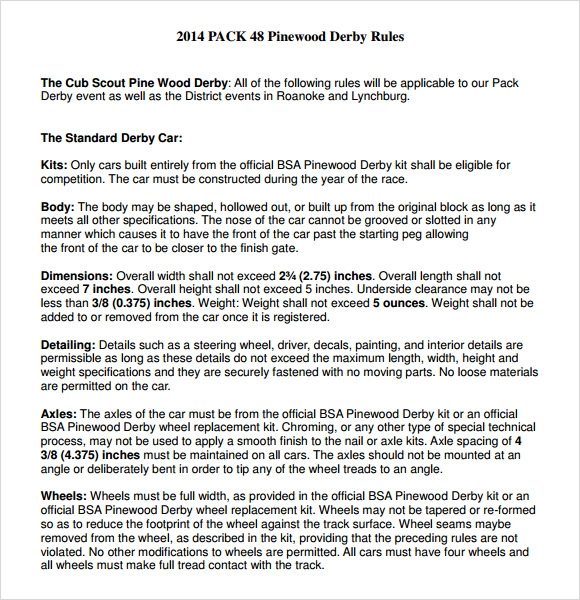 pinewood derby rules template