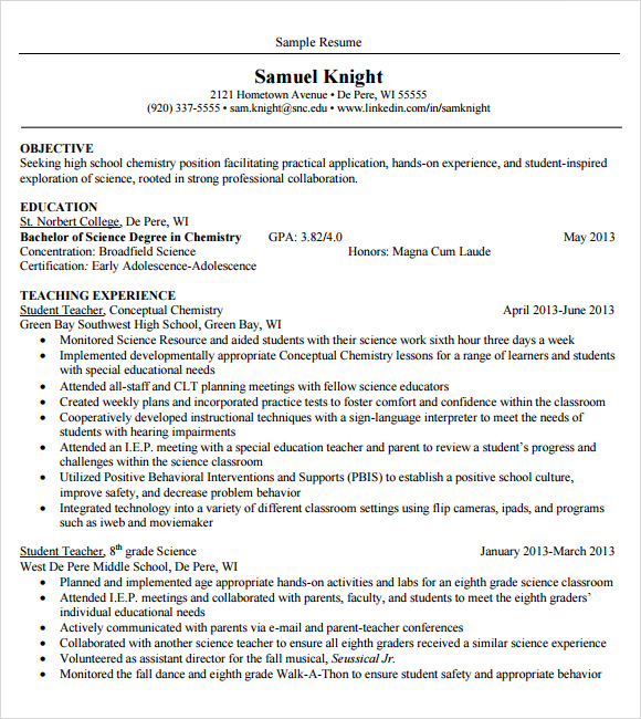 Teacher Resume Template   Download Documents In Pdf  Word  Psd