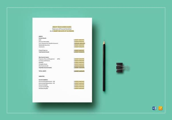 printable financial statement template