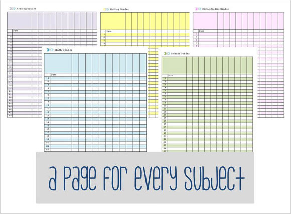 Printable Gradebook Template