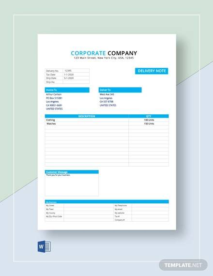 product delivery note template1